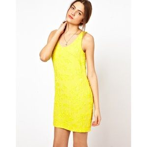 French Connection Canary Yellow Sequins Dress